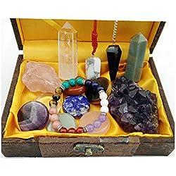 Healing Crystal Gift/Balancing Chakra Kit 14 Piece:7 Chakra Palm Stones,Amethyst Cluster, 2 Crystal Points,Raw Pink Quartz,Reiki Pendulum,Chakra Bracelet,Pendant,Reference Guide,Use for Meditation