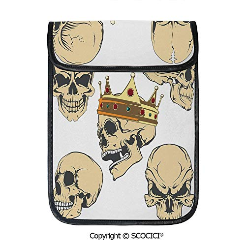 SCOCICI iPad Pro 12.9 Inch Sleeve Tablet Protective Bag Skulls Different Expressions Evil Face Crowned Death Monster Halloween Custom Tablet Sleeve Bag Case]()