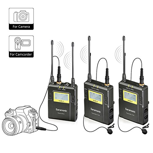 Saramonic Uwmic9 Wireless Lavalier Lapel Microphone System -Includes RX9 Portable Receiver, 2 TX9 Bodypack Transmitter by Saramonic