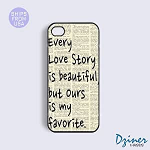iPhone 4 4s Case - Vintage Love Story Quote iPhone Cover