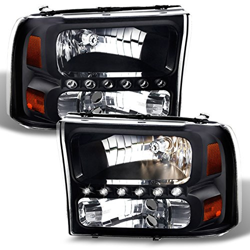 Ford F250/F350 Superduty Excursion OE Replacement Black Bezel Headlights Driver/Passenger Headlamps