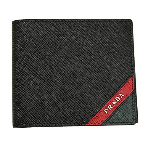 Prada Mens Black Saffiano Stripe Leather Bi-fold Wallet 2MO738 Nero+Fuoco