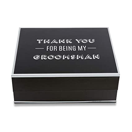 Kate Aspen 28444na Thank You For Being My Groomsman Gift Box Black Silver