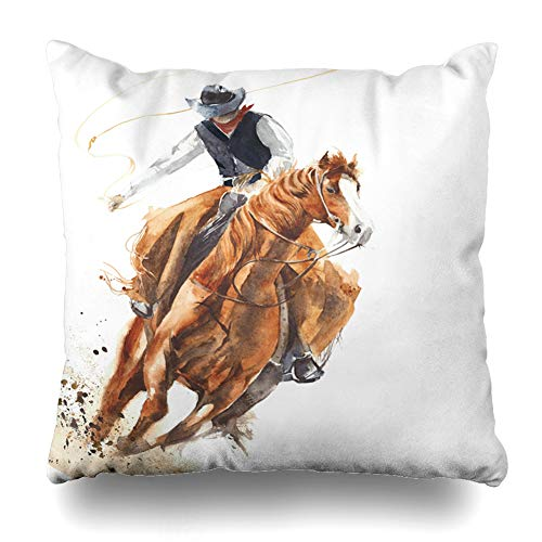 Ahawoso Throw Pillow Cover Square 16x16 Inches Style Watercolor Western Cowboy Riding Horse Ride Culture Calf Roping Rodeo Vintage Farm Cushion Case Home Decor Pillowcase