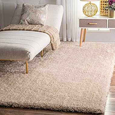 Handmade Plush Shag Natural Area Rugs, 4 Feet by 6 Feet (4' x 6')