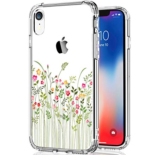 - KINFUTON iPhone XR Case, Women Girls Clear Protective Heavy Duty Flowers/Floral iPhone 10xr Case with Hard PC Back and Soft TPU Bumper [Slim Thin] Phone Case for iPhone XR 6.1 Inch (2018)-Clear