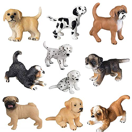 Figurine Dalmatian Dog (HOMNIVE Realistic Animal Figure - 10pcs Cute Puppy Figurines - Hand Painted Emulational Dog Figurines Toy Set,Bona Puppy, Golden Retriever, Dalmatian Puppy for Kids Toddlers)