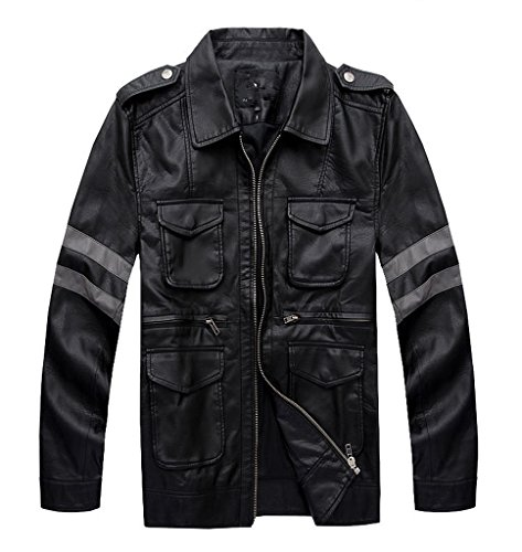 [Smoon Cosplay Resident Evil Six Leon Scott Kennedy Black Fur Coat Leather Jacket Costume(M)] (Leon Kennedy Costumes)