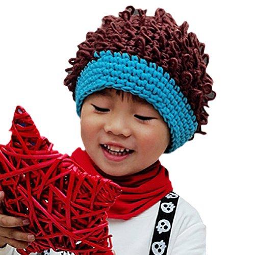 Locomo Baby Knit Crochet Rib Afro Bob Clown Wig Fake Hair Beanie Hat FBA037BLU Blue]()