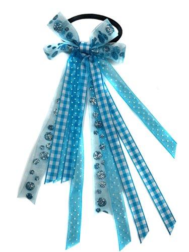 - Light Aqua Blue Glitter Hair Bow Ribbon Streamers Ponytail Holder- Polka Dots, Plaid, Aqua (Scrunchie)