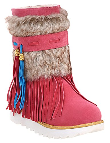 IDIFU Womens Ethnic Fringed Faux Fur Lined Flat Slip On Winter Boots Ankle High Snow Booties Rose Red V7htAVP