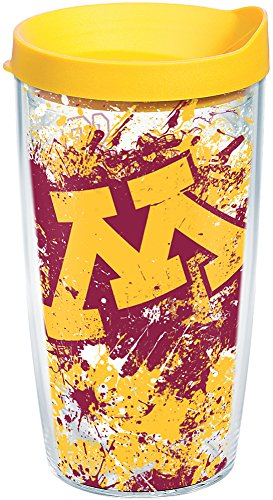 Tervis 1165398 Minnesota Golden Gophers Splatter Tumbler with Wrap and Yellow Lid 16oz, Clear