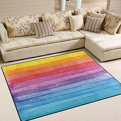 Naanle Stripe Watercolor Painting Area Rug 5'x7', Colorful Stripe Polyester Area Rug Mat for Living Dining Dorm Room Bedroom Home Decorative - Polyester Stripes Rug