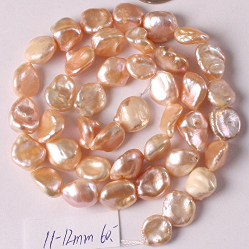 JOE FOREMAN Freshwater Cultured Pearl Beads for Jewelry Making Natural Gemstone Semi Precious 11-12mm Freeform Pink 15