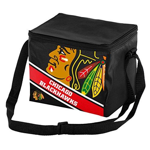 FOCO Chicago Blackhawks Big Logo Stripe 6 Pack Cooler -