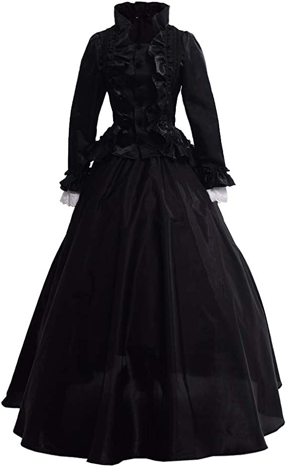 1890s-1900s Fashion, Clothing, Costumes GRACEART Womens Medieval Victorian Fancy Dresses with Crinoline Palace Royal Masquerade Vintage Costume (XXL Black) £53.90 AT vintagedancer.com