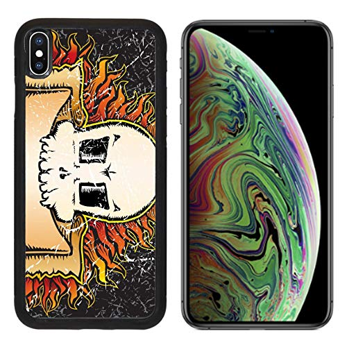 MSD Apple iPhone Xs MAX Case Aluminum Backplate Bumper Snap Case Image ID: 3590036 Flaming Skull Grunge