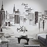 Best Wall Stickers For Bedrooms - iwallsticker 210 133CM Black Modern City Silhouette Cityscape Review