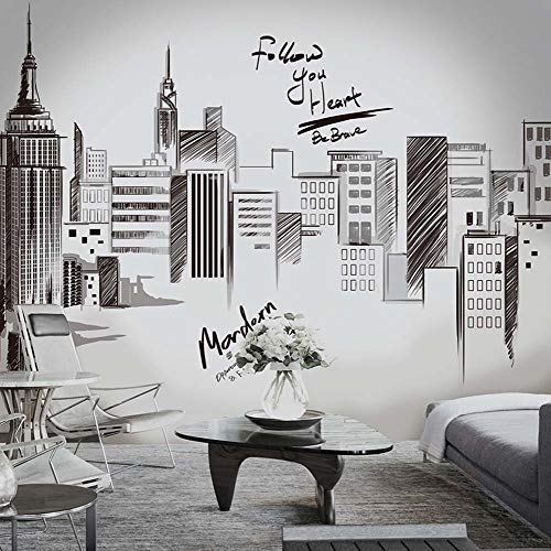 iwallsticker 210 133CM Black Modern City Silhouette Cityscape Skyscraper Wall Decals, Living Room Bedroom Removable Wall Stickers Murals