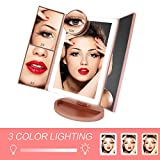 Makeup Vanity Mirror with Lights, 3 Color Lighting 36 LED COSMIRROR Trifold Lighted Makeup Mirror, 1X/2X/3X/10X Magnification and Touch Screen, High Definition Light Up Mirror (Rose gold)