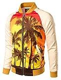 JOGAL Mens Zipper Bomber Jacket Lettermen Style Sunset Coconut Tree Couples Top Large