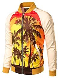 JOGAL Mens Zipper Bomber Jacket Lettermen Style Sunset Coconut Tree Couples Top