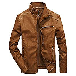 Youhan Men's Casual Full-Zip Retro Fitted PU Faux Leather Jacket