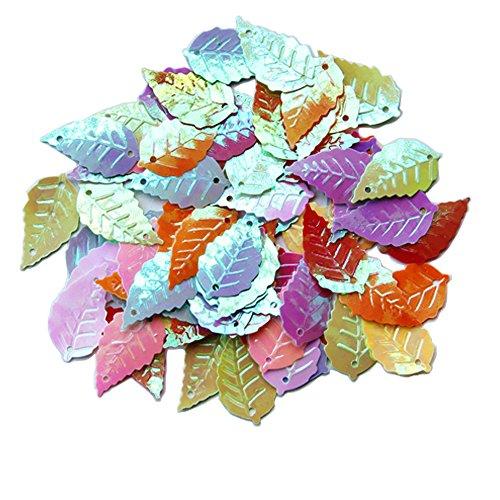 ZIJING 120 pcs Mix Colored Big Tree Leaf Loose Sequins Spangles Paillettes DIY Scrapbooking Craft Applique Embellishment1425mm (#11 Assorted Colors)