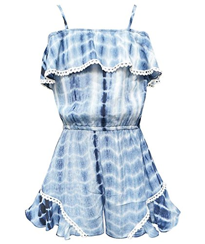 Truly Me, Charming Rompers (with Many Options), 4-6X, 7-16 (10, Blue Tie Dye) by Truly Me