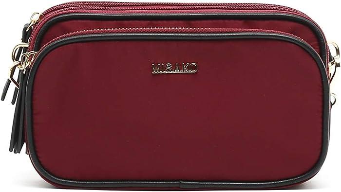 MISAKO - Bolso Nylon BAYONAS de Mujer en color burdeos | Bolso Bandolera | Bolso pequeño | Bolso de Hombro | Bolso Práctico: Amazon.es: Zapatos y complementos