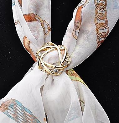 Fajewellery Broche Flor Camelia Perla Rhinestone Bufanda Anillo Broches para Mujeres
