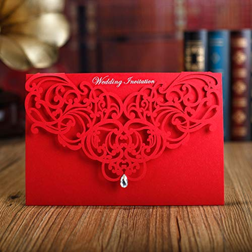 WOMHOPE® 50 Pcs – Classic Red Color Laser Cut Lace Card Wedding Invitation Party Folding Invitations Cards Birthday Invitations Cards Wedding Favors with Acrylic Rhinestone (A)