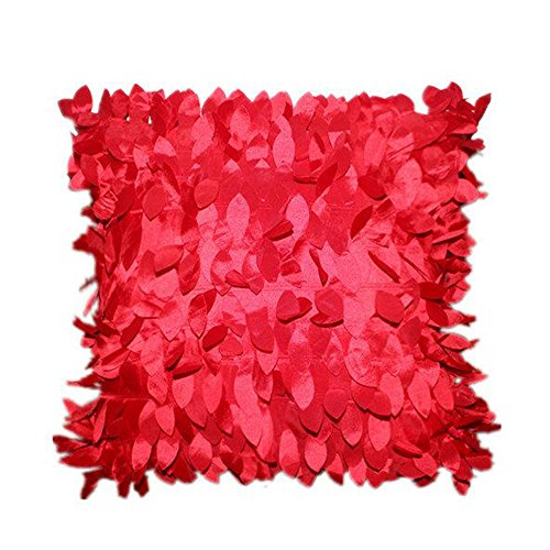 iYBUIA Solid Home Decor Square Pillow Cover Cases Cushion Leaves Feather -