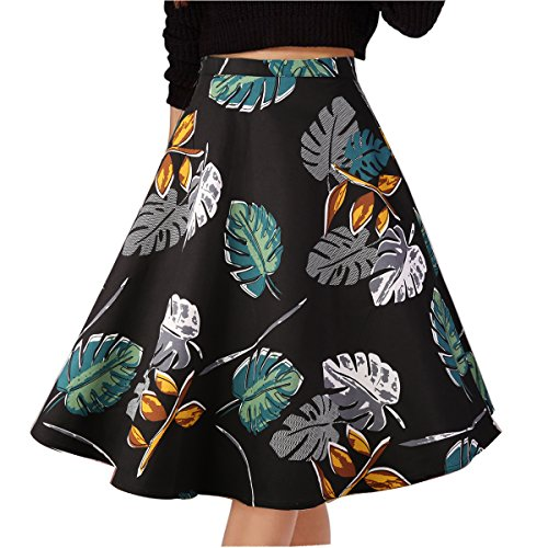 Musever Women's Pleated Vintage Skirts Floral Print Casual Midi Skirt Leaves ()