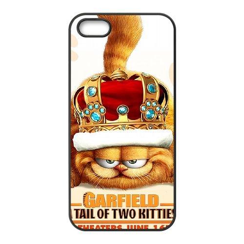 Garfield 009 coque iPhone 5 5S cellulaire cas coque de téléphone cas téléphone cellulaire noir couvercle EOKXLLNCD23844