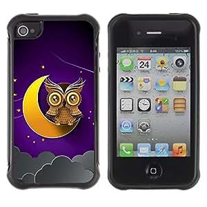 """Pulsar iFace Series Tpu silicona Carcasa Funda Case para Apple iPhone 4 / iPhone 4S , Luna creciente Búho de Brown amarillo del cielo nocturno"""""""