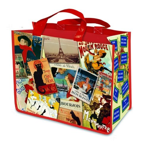 Large New Reuseable Shopping Bag Vintage Paris Advertising Moulin Rouge Eiffel (Rouge Vintage Perfume)