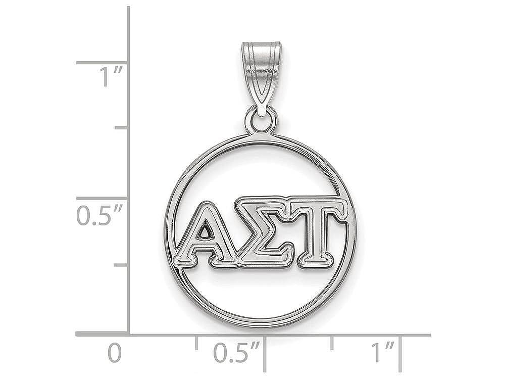 LogoArt Sterling Silver Alpha Sigma Tau Small Circle Pendant w//Chain