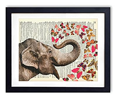 Elephant With Butterflies (#2) Upcycled Vintage Dictionary Art Print 8x10