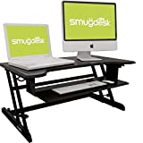 B Standing Converter Desk Height Adjustable Computer Workstation with Keyboard Tray Dual Monitors Elevating Desk 32 x 24 Inch Fully Assembled - Black
