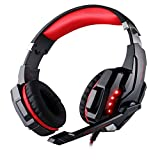 HelloPower G9000 stereo gaming headset ps4 pc for computer with microphone LED Light Deep Bass gamer headphones (Black-Red)