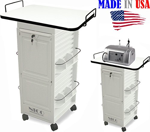 N20E-PLT Aesthetician Salon Spa Rollabout Trolley Cart w/109 white Laminated top MADE IN USA by Dina Meri
