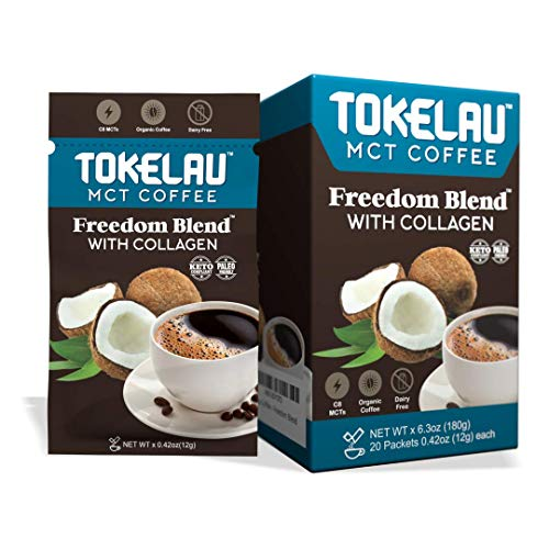 Tokelau Keto Collagen Instant Coffee Packets with Collagen Peptides and C8 MCT Oil, Perfect Dairy Free Ketogenic Coffee in Seconds
