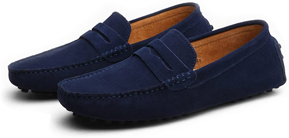 M HYF Mens Driving Penny Loafers Suede Casual Moccasins Slip-On Boat Shoes Up to Size 49 EU Business Shoes for Men US Color : Navy, Size : 9.5 D