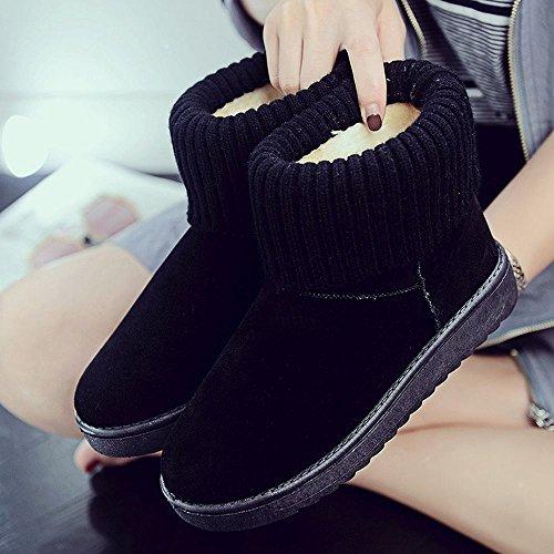 Zapatos Invierno Botas DXD Mujer de de Algodón Negro de Cachemira Punto de de Tubo Caliente Nieve de de Zapatos Zapatos Más Línea Moda Rosa dzqBwzr