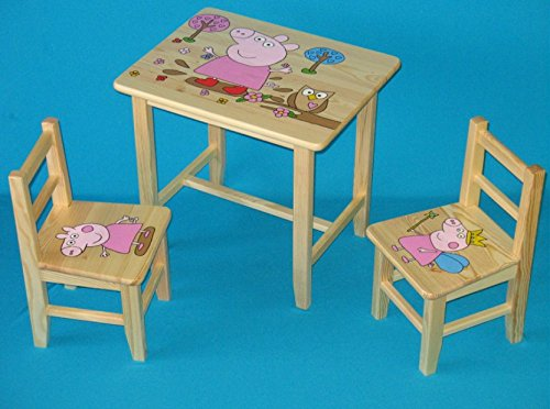Set Wooden Table with 2 Chairs for Children's Room. M29. Great Gift Idea.Complete in Pine with Hand Design. ipp