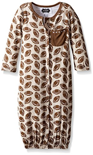 Mud Pie Baby Boy Convertible Sleepwear Gown,  Brown,  0-3 Months