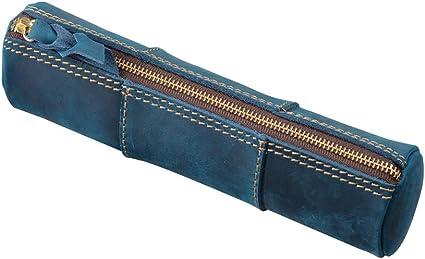 Fyore Estuche de lujo para lápices, de piel auténtica, vintage, redondo, para la escuela, adultos y adolescentes, color azul 20.5*5.2*5.2cm: Amazon.es: Oficina y papelería