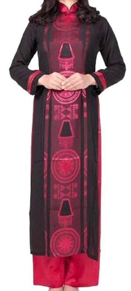 アオザイ ベトナム 民族 衣装 襟付き 長袖 レディース 黒 パーティードレス B01MS0KED5 XXXXXL ピンク ピンク XXXXXL