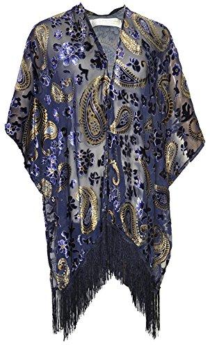 Amazing Grace Elephant Co Women's Vintiage Burnout Velvet Kimono Cardigan Floral Series (Blue Princess Paisley)